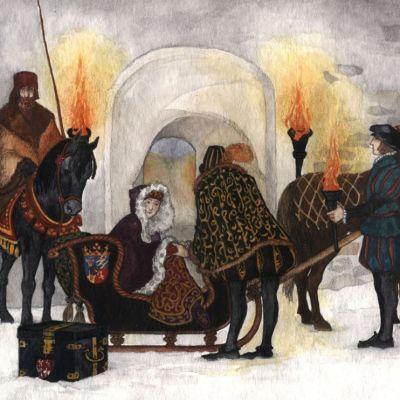 Katariina saapuu Turun linnaan (piirros)