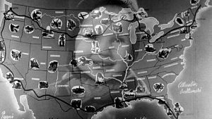 Ristikuva tytöstä (Kaarina Tamminen) ja USA:n kartasta (1947).