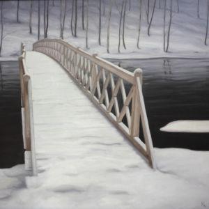 Kaj Stenvallin maalaus Silta, luminen maisema, joki