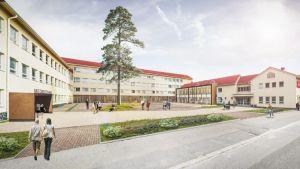 En arkitektbild av hur Novias och VAMK:s nya, gemensamma campus ser ut.