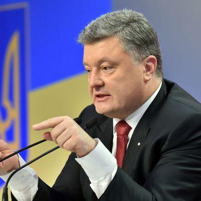 Ukrainan presidentti Petro Porošenko lehdistötilaisuudessa Kiovassa 29. joulukuuta 2014.