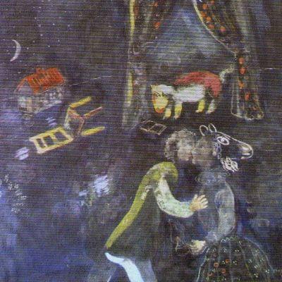 Reproduktio taiteilija Marc Chagallin teoksesta nähtävillä tiedotistilaisuudessa Augsburgissa Saksassa 5. marraskuuta 2013.