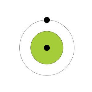 En ritad väte (H2) atom.