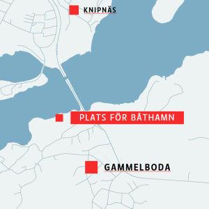 En karta där en planerad småbåtshamn är utmärkt. På kartan är också Ekenäs centrum, Gammelboda och Knipnäs utmärkta.