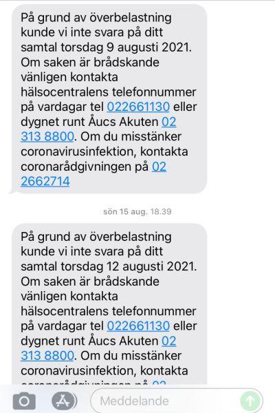 Skärmdump av ett meddelande om att Åbos hälsovård inte har kunnat svara på ett telefonsamtal.