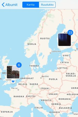 Ruutukaappaus: kuvauspaikkoja Applen Kuvat-sovelluksen kartalla.