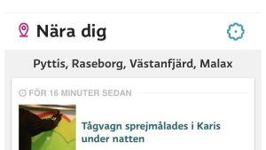 Nära-dig-tjänsten på Svenska.yle.fi.