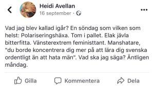Heidi Avellans statusuppdatering på FB i september 2019.