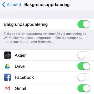 bakgrundsuppdatering inställningar iphone
