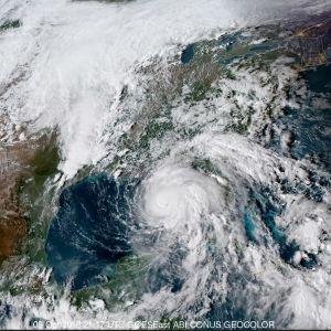 Satellitbild på orkanen Michael på väg in mot land.