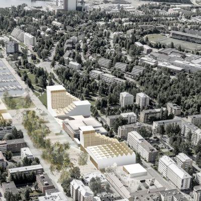 Havainnekuva Kuopionlahden arkkitehtikilpailun ehdotuksesta.