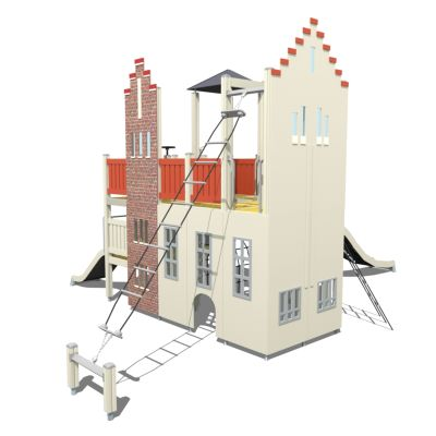 Kiipeily- ja liukumäkitelineen suunnittelussa on otettu mallia lähellä olevan konservatorion B-rakennuksen eli entisen tyttölyseon ja kirjaston ulkoverhoilusta ja kattorakenteesta.