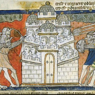 Hirviösotilaat uhkaavat linnoitusta asein. Ihmiskasvoja linnan muureilla.