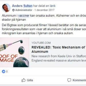 Anders Sultan hävdar att vaccin förorsakar autism. Han delar en video.