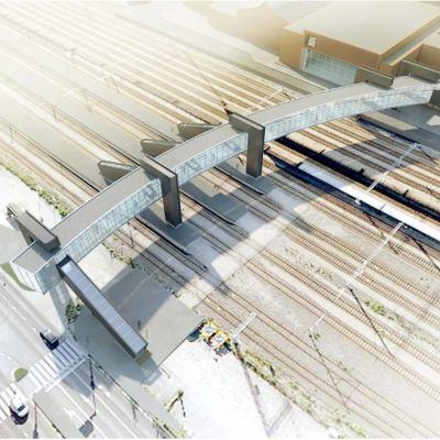 En skiss som föreställer den nya gångbron mellan Logomo och Bangårdsgatan i Åbo.