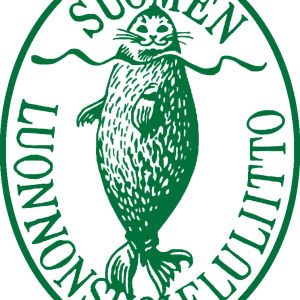 Erik Bruunin piirtämä Suomen luonnonsuojeluliiton vanha logo vihreänä.