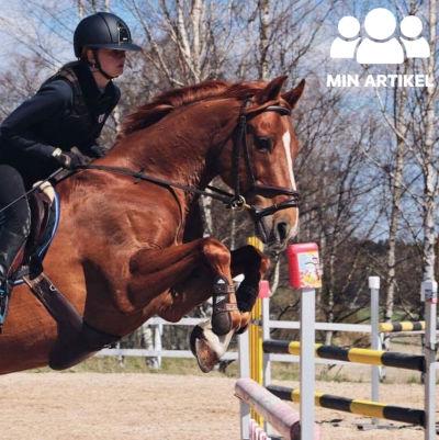En ung kvinna sitter på en häst medan hästen hoppar över ett hinder. Kvinnan heter Alexandra Wasström och hästen Broby Chaplin.