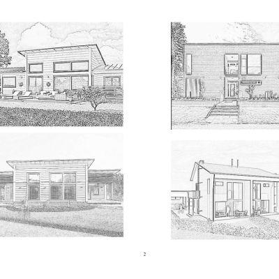 Bilder av hustyper, svartvita teckningar, fyra olika tvåningshus i trä. Anknyter till ett planerat nytt bostadsområde i Ekenäs, Båssastranden.