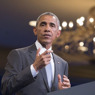 Barack Obama puhumassa Washingtonissa keskiviikkona.