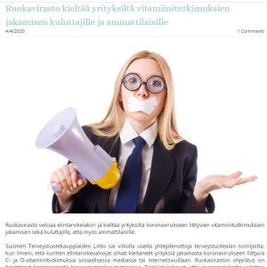 """Hälsokostföretagarnas Suomen Terveystuotekauppiaiden liitto protesterar på sin webbsida mot att myndigheterna ingriper mot """"information om vitaminforskning""""."""