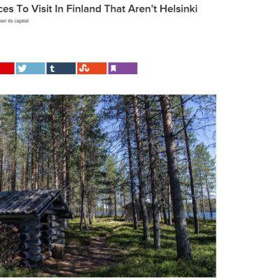 Sivukaappaus BuzzFeedin nettisivustolta, jossa Tabatha Leggett esittelee suomalaisia sadunomaisia paikkoja Helsingin ulkopuolella.