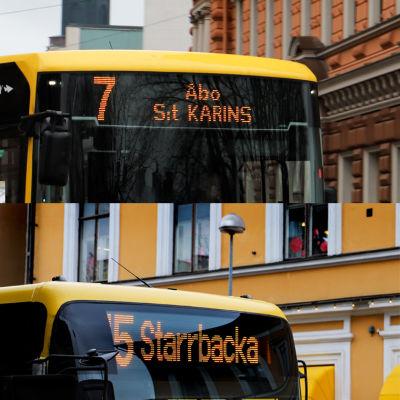 Bildmontage, Åbobussarnas skyltning.