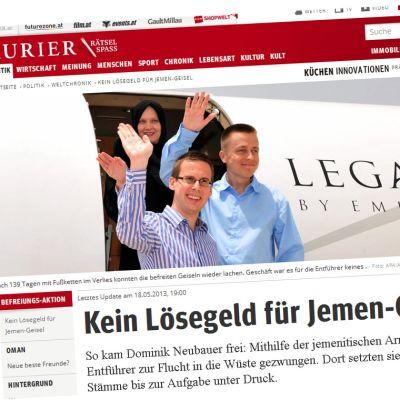 Skärmdump från Kuriers hemsida.