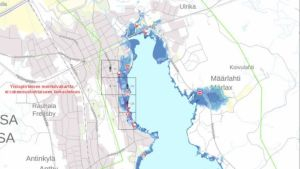 Karta över översvämningsrisker i Lovisa centrum