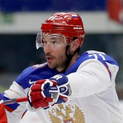 Ilja Kovaltjuk och Ole-Kristian Tollefsen under ishockey-VM 2015.
