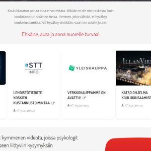 En skärmdump av Kouluturvaas nätsida.