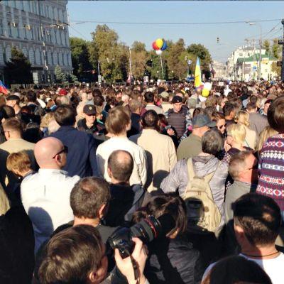 Mielenosoittajia Moskovassa.