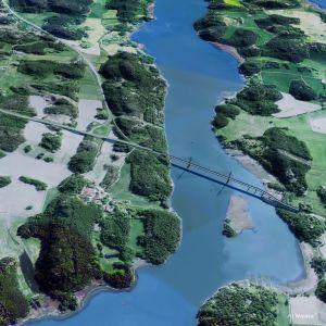 Bild över hur den nya vägen och broarna kunde se ut.