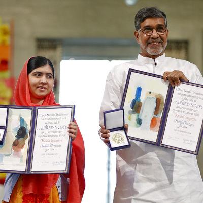 Malala Yousafzai och Kailash Satyarthi fick Nobelpris