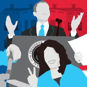 Grafisk illustration som symboliserar USA:s president.