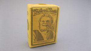 Bild på en gammal ask piptobak av märket Wäkevä Matti.