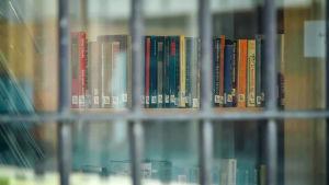 Kirjoja kalterien takana.