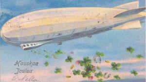 Vanha joulukortti Zeppelinistä vuodelta 1932