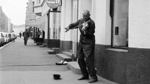 Katusoittaja soittaa viulua Museokadulla (1970)