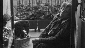 Den franska författaren Sidonie Gabrielle Colette fotograferad på sin balkong år 1932.