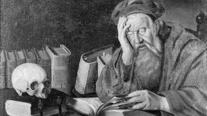 Pyhä Hieronymys, kääntäjien suojeluspyhimys. Öljymaalaus. Tekijä:  Jan Gossaert (Mabuse).