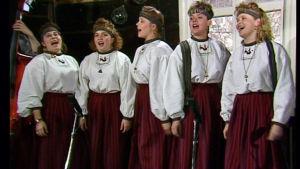 Värttinä-yhtye esiintyy 1990