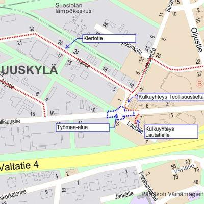 Karttakuva Eteläkeskuksen uudesta kiertoliittymästä liikennejärjestelyineen