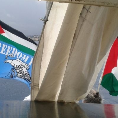 "Ship to Gaza ingår i den internationella ""Freedom Flotilla"", nu på väg emot Gaza."