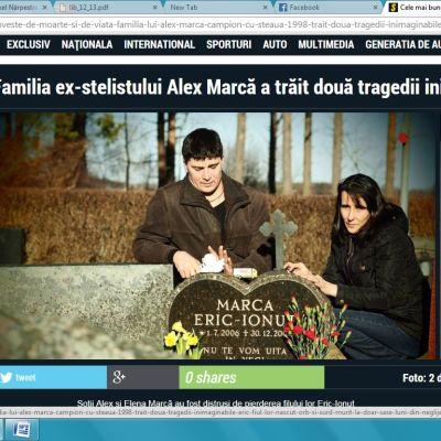 Screenshot från rumänska tidningen Libertate som skriver om Familjen Marcas tragedi