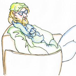 Lassi Rajamaan piirros pianisti Emil Holmströmistä.