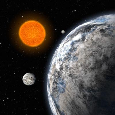 Tähti HD40307 ja sen kolme löytynyttä planeettaa.