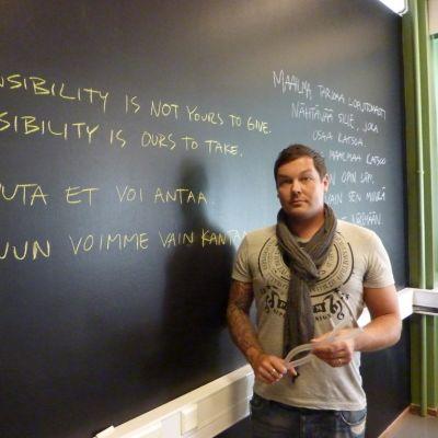 Muotoilulinjan opiskelija Jani Rajamäki.