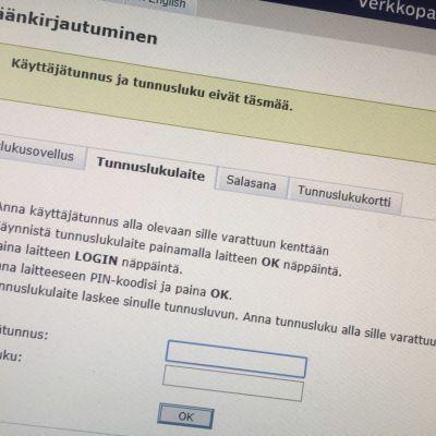 Pankin nettisivu kertoo, että sisäänkirjautuminen verkkopankkiin ei onnistunut.