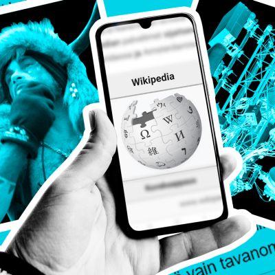Kuvakollaasi, jossa käsi pitelee älypuhelinta, jossa on auki Wikipedian sivu. Taustalla kuva Capitol Hillin valtaajasta, 5G-tornista, rokotteesta, mikrosirusta ja kissasta.