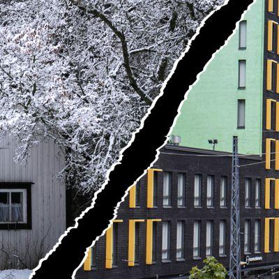 Vanha talo maaseudulla ja uusia kerrostaloja Jätkäsaaressa